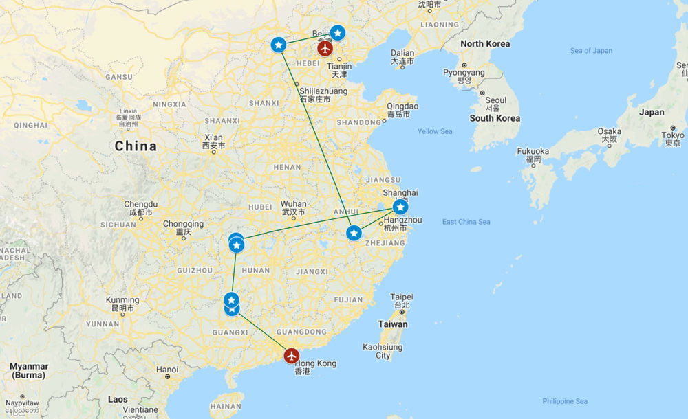 Simplified map of my trip to China